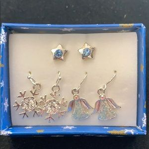 Set of three holiday earrings in a gift box